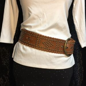 "Brown Leather Belt ""Badass"""